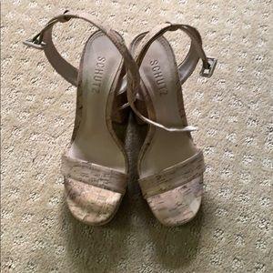 SCHUTZ cork platform sandals. Size 6.5